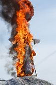 Burning Effigy Of Maslenitsa. Seeing Off Winter In Russia Is A Pagan Holiday Of Spring. poster