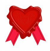 Wax Stamps Vector Icon. Wax Seal In The Form Of A Heart. poster