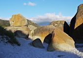 picture of promontory  - Rusty rocks at a beach in the Wilsons Promontory National Park in Victoria - JPG