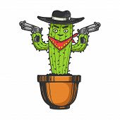 Cartoon Mexican Cactus Character Gangster Bandit With Pistol Revolver Guns Engraving Sketch Vector I poster