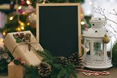 Christmas Decoration With White Lantern, Leaves, Pine Cones, Gift Box, Candy Cane, Chalkboard Or Bla poster