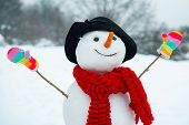 Funny Snowman In Stylish Hat And Scarf On Snowy Field. The Morning Before Christmas. Funny Snowmen.  poster