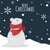 Christmas Holidays Season Background Of Cute Polar Bear In Santa Hat And Red Scarf On Snow Hill With poster