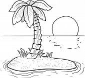 foto of deserted island  - Doodle style tropical or deserted island with palm tree and sunset in vector format - JPG
