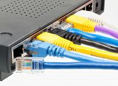 Cat 5 Cables In Multiple Colors In Router