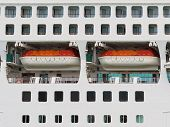 Abstract of lifeboats on a large cruise ship