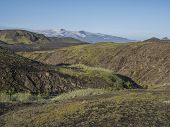Icelandic Landscape With Eyjafjallajokull Glacier Tongue, Blue River Stream And Green Hills. Fjallab poster