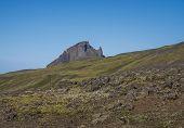 View On Einhyrningur Unicorn Mountain. Fjallabak Nature Reserve, Iceland. Summer Blue Sky poster