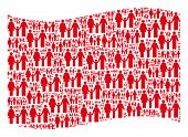 Waving Red Flag Collage. Vector Family Child Elements Are Combined Into Mosaic Red Waving Flag Colla poster