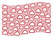 Waving Red Flag Collage. Vector Cloud Pictograms Are Scattered Into Conceptual Red Waving Flag Colla poster