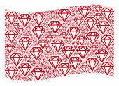 Waving Red Flag Collage. Vector Diamond Design Elements Are Grouped Into Mosaic Red Waving Flag Coll poster