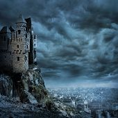 picture of wizard  - Landscape with old castle at  - JPG