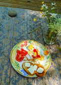 Full Breakfast - Fried Eggs, Ketchup, Sliced Tomato, Toasted Slice Of White Bread With Slices Of But poster