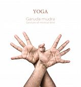 stock photo of pranayama  - Hands in Garuda mudra by Indian man isolated at white background - JPG