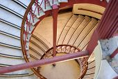 Spiral Staircase With Red Railings In The Carnegie Library In Vancouver