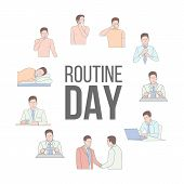 Man Working Day Vector Characters Set. Daily Routines. Morning, Midday, Evening Activities. Commutin poster
