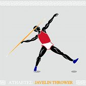 Greek art stylized javelin thrower in action