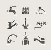 water-supply faucet mixer, tap, valve for water set icon vector illustration