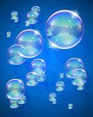 burbuja de jabón para la ilustración del vector de mensaje EPS10. Objetos transparentes y máscaras de opacidad utilizados para sh