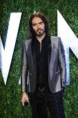WEST HOLLYWOOD, CA - FEB 24: Russell Brand at the Vanity Fair Oscar Party at Sunset Tower on Februar