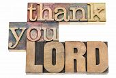 thank you Lord  - isolated text in vintage letterpress wood type printing blocks