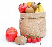 Frutas no saco do Gunny em branco