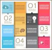 Infographic template design - Original geometric paper shapes with shadows. Ideal to display data an