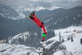 BUKOVEL, UKRAINE - FEBRUARY 23: Chao Wu, China performs aerial skiing during Freestyle Ski World Cup