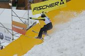 BUKOVEL, UKRAINE - FEBRUARY 23: Sergii Lysianskyi, Ukraine performs aerial skiing during Freestyle Ski World Cup in Bukovel, Ukraine on February 23, 2013