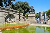 BARCELONA, SPAIN - AUGUST 16: View of Placa Catalunya on August 16, 2011 in Barcelona, Spain. This s