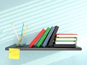 Shelf With Books, Pencils, And Sticky Note On Blue Wall. 3D Render