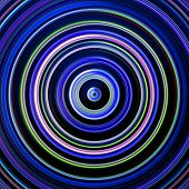 Blue and green color circles on black.