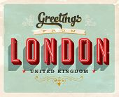Vintage Touristic Greeting Card - London, UK - Vector EPS10. Grunge effects can be easily removed for a brand new, clean sign.