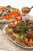 Two Belarussian National Meals Including Grilled Meat With Mash Potat And Mashrooms, Vegetable Salad