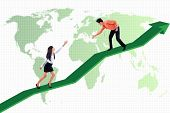 pic of higher power  - Businessman is helping businesswoman to achieve higher profit on world map background