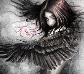 pic of eagle  - Illustration sketch of  woman with eagle wings - JPG