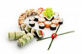 Sushi Set - Different Types of Maki Sushi (Philadelphia roll, Yin Yang Roll, Salmon and Smoked Eel Roll, Vegetarian Roll, Cucumber Roll)