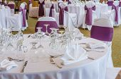 stock photo of banquet  - Table at the wedding reception - JPG