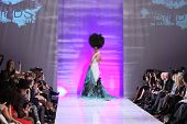 NEW YORK - FEBRUARY 15: Model walking the runway at Catalin Botezatu fashion show