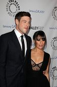 LOS ANGELES - FEB 27:  Cory Monteith, Lea Michele arrive at the PaleyFest Icon Award 2013 at the Pal