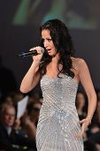 NEW YORK - FEBRUARY 15: Singer Veronica Iovan performs on the fashion runway