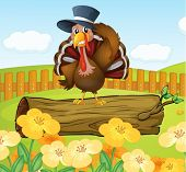 foto of log fence  - Illustration of a turkey inside the fence - JPG