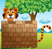 Illustration of a tiger hiding on a pile of bricks