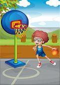 Illustration of a boy playing basket ball
