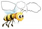 Illustration of the empty thoughts of a flying bee on a white background