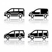 Set of transport icons - Cargo van,