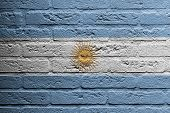Brick Wall With A Painting Of A Flag, Argentina