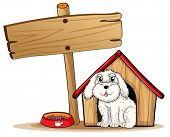Illustration of a dog inside the dog house with a wooden signboard on a white background