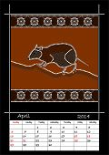 A Calender Based On Aboriginal Style Of Dot Painting Depicting Musky Rat Kangaroo