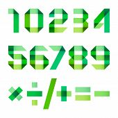 foto of arabic numerals  - Spectral numbers folded of paper green ribbon  - JPG
